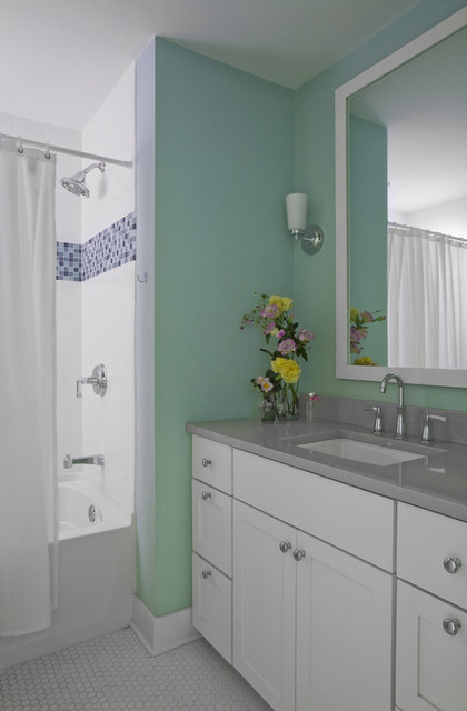 Kohler Archer Bathroom Contemporary with Baseboards Floral Arrangement Mint
