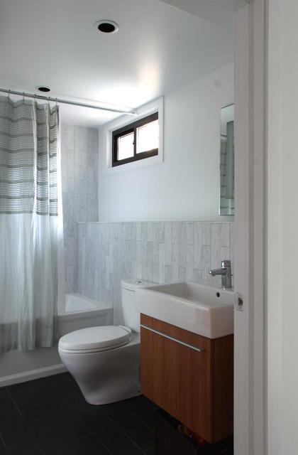 Kohler Archer Bathroom Modern with Carrara Marble Wall Tile
