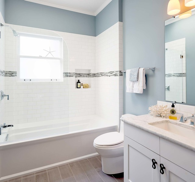 Kohler Archer Tub Bathroom Beach with Bianco Carrara Blue Bathroom