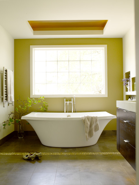 Kohler Archer Tub Bathroom Contemporary with Accent Wall Floral Arrangement