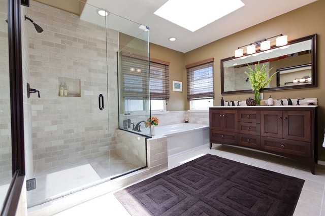 Kohler Archer Tub Bathroom Traditional with Bath Mat Ceiling Lighting