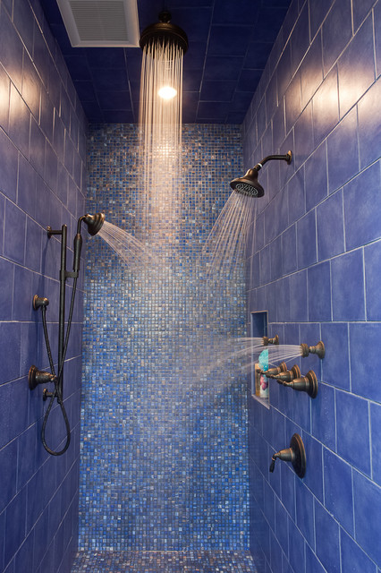 Kohler Devonshire Bathroom Contemporary with Blue Tile Dark Hardware