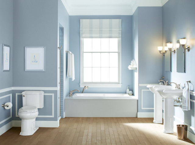 Kohler Devonshire Bathroom Traditional with Alcove Shower Bathroom Blue