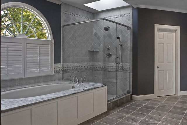 Kohler Devonshire Bathroom Traditional with Arched Windows Corner Shower
