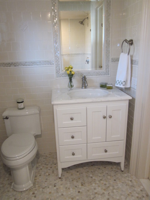 Kohler Devonshire Bathroom Traditional with Bathroom Mirror Hexagonal Tiles