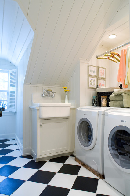 Kohler Farmhouse Sink Laundry Room Traditional with Beadboard Beadboard Ceiling Beadboard
