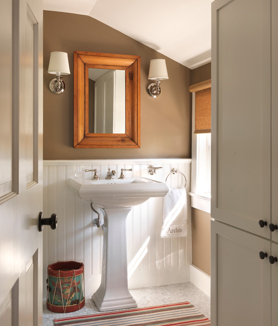 Kohler Memoirs Powder Room Beach with Beadboard Browns Costal Cottage
