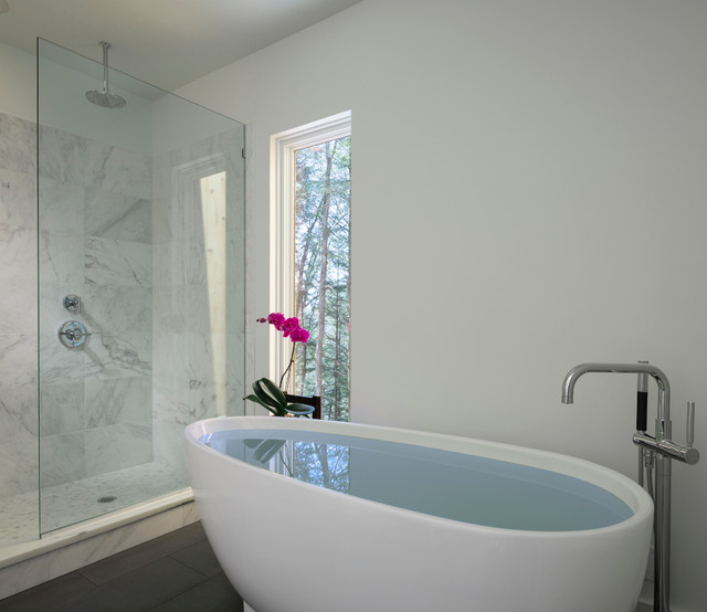 Kohler Purist Bathroom Contemporary with Floor Mounted Faucet Flower
