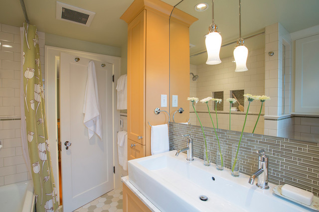 Kohler Purist Bathroom Traditional with Color Custom Cabinets Glass