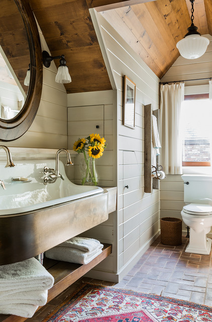 Kohler Sinks Bathroom Farmhouse with Brick Floor Gable Dormer