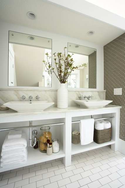 Kohler Sinks Bathroom Traditional with Backsplash Basket Double Sinks