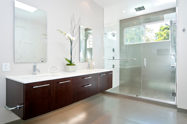 Kohler Vanity Bathroom Contemporary with Cantilevered Vanity Clear Glass