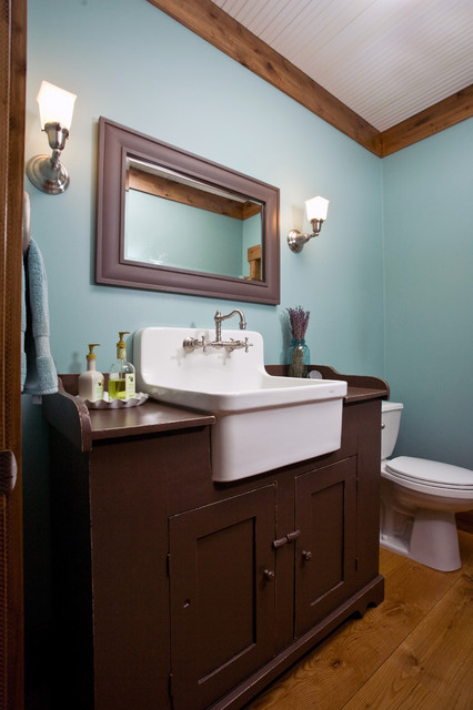 Kohler Vanity Bathroom Farmhouse with Blue Wall Brow Painted