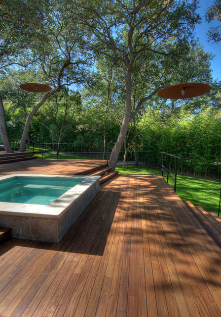 Kool Deck Landscape Contemporary with Deck Grass Hot Tub