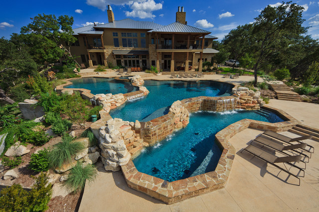 Kool Deck Pool Contemporary with Boulders Chaise Lounge Patio