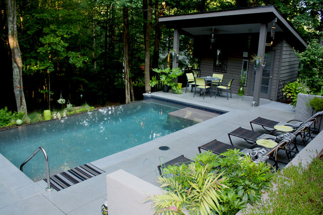 Kool Deck Pool Contemporary with Dark Gray Exterior Dark
