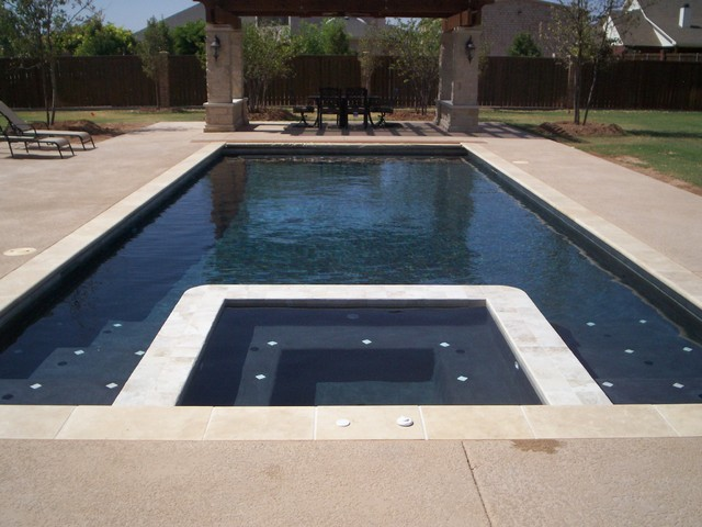 Kool Deck Pool Modern with Black Plaster Gazebo Gunite