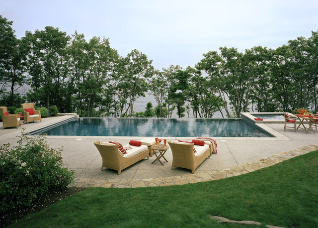 kool deck Pool Traditional with concrete dining area flagstone