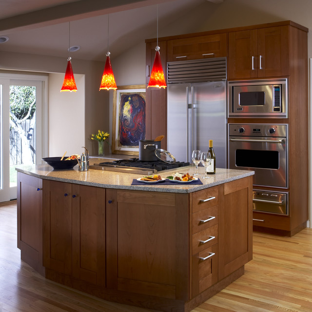 kraftmaid cabinets Kitchen Contemporary with brown cooktop cooktop on