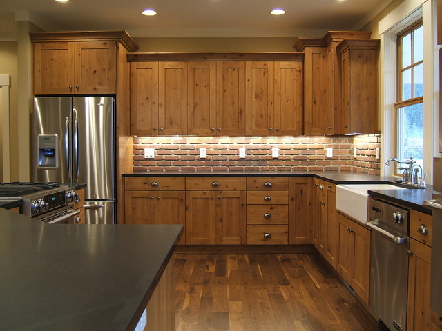 Kraftmaid Cabinets Kitchen Rustic with Apron Sink Brick Kitchen