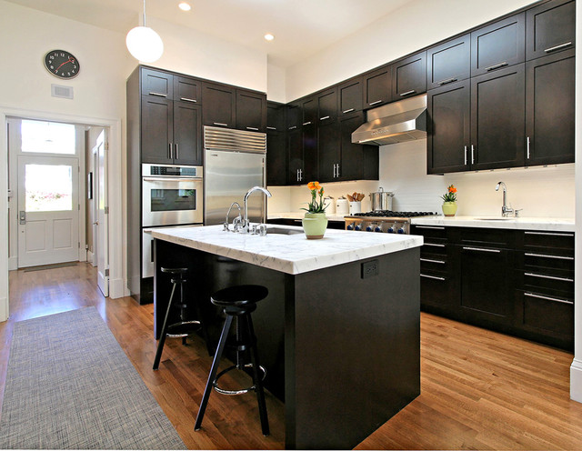 Kraftmaid Cabinets Kitchen Transitional with Barstools Dark Cabinets Dining