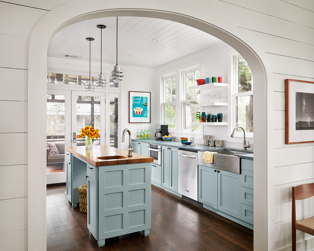 Kraus Faucets Kitchen Farmhouse with Arched Doorway Floating Shelves