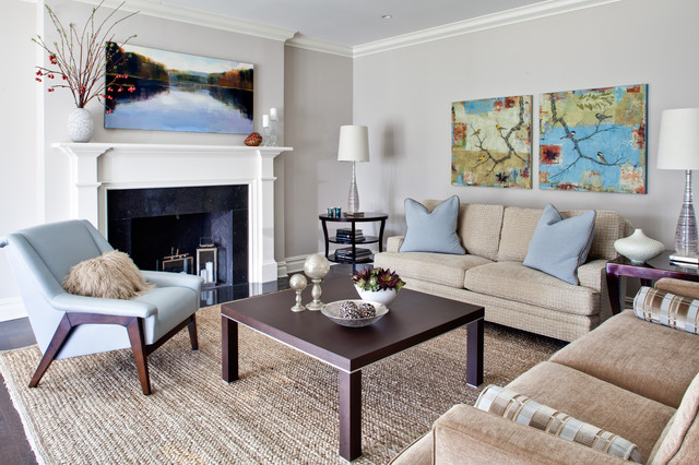 Kravet Furniture Living Room Contemporary with Area Rug Blue Armchair