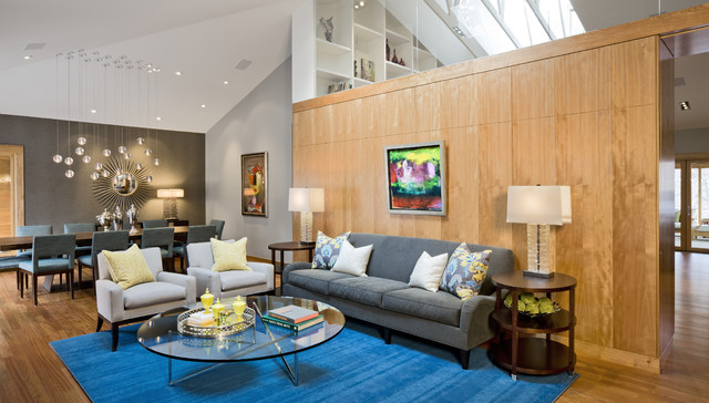 Kravet Furniture Living Room Contemporary with Arm Chairs Blue Area