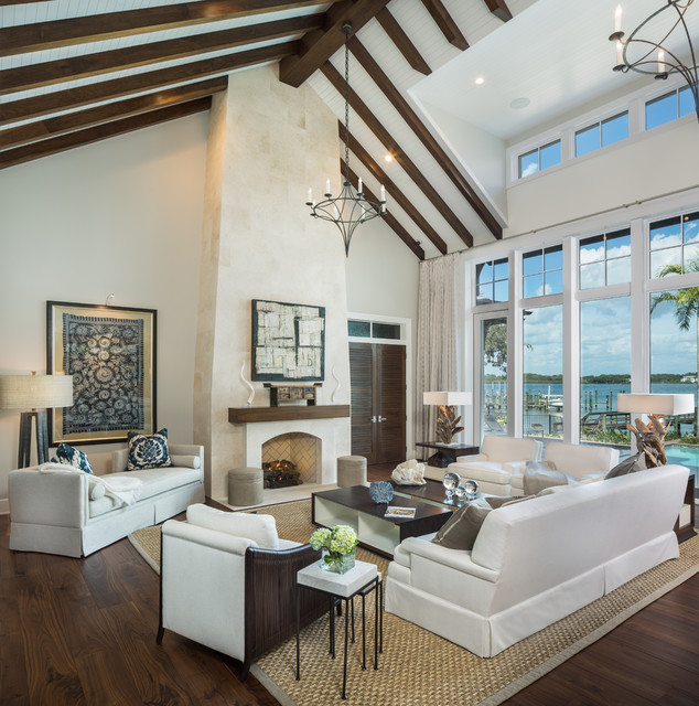 Kravet Furniture Living Room Transitional with Clerestory Windows Exposed Beams