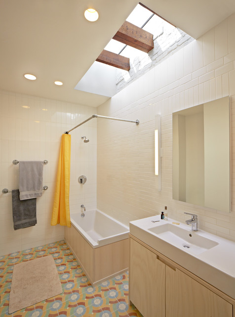 l shaped shower curtain rod Bathroom Eclectic with accent tile bathroom lighting