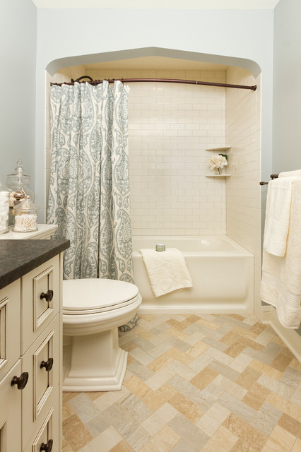 L Shaped Shower Curtain Rod Bathroom Traditional with Alcove Archway Jars Light