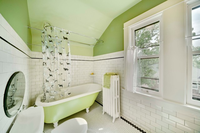 L Shaped Shower Curtain Rod Bathroom Traditional with Claw Foot Tub Green Paint