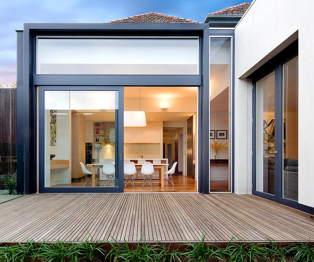 La Cantina Doors Deck Contemporary with Deck Eames Chairs Glass