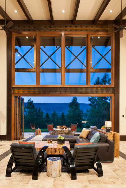 La Cantina Doors Living Room Rustic with Bifold Doors Brown Sectional1