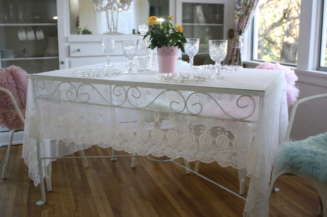 lace curtain panels Dining Room Farmhouse with coverlet lace custom dyed
