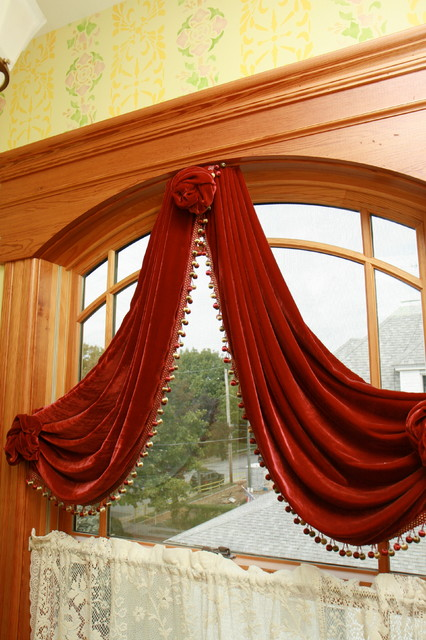 Lace Curtain Panels Staircase Traditional with Arched Window Heart Pine
