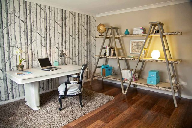 ladder shelf ikea Home Office Eclectic with area rug arm chair