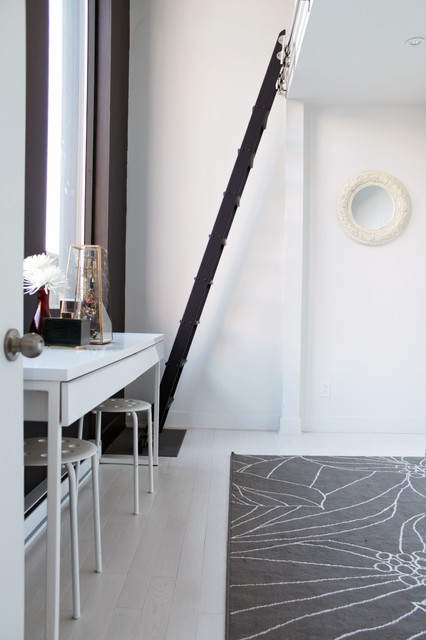 Ladder Shelf Ikea Spaces Contemporary with Accent Wall Bedroom Black1
