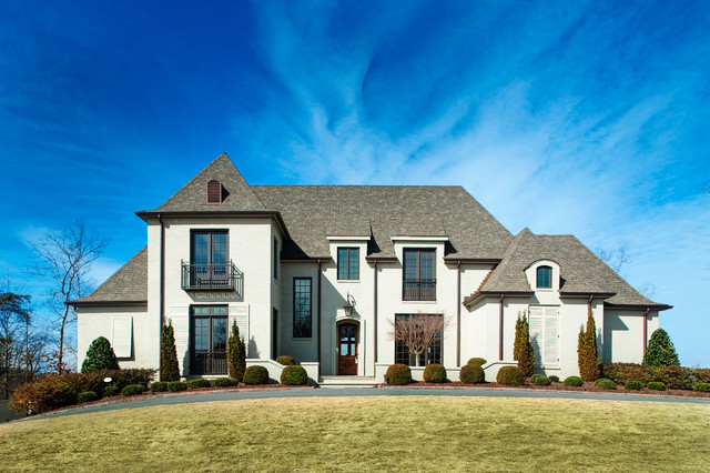 Landmark Shingles Exterior Traditional with Arch Balcony Brick Brown