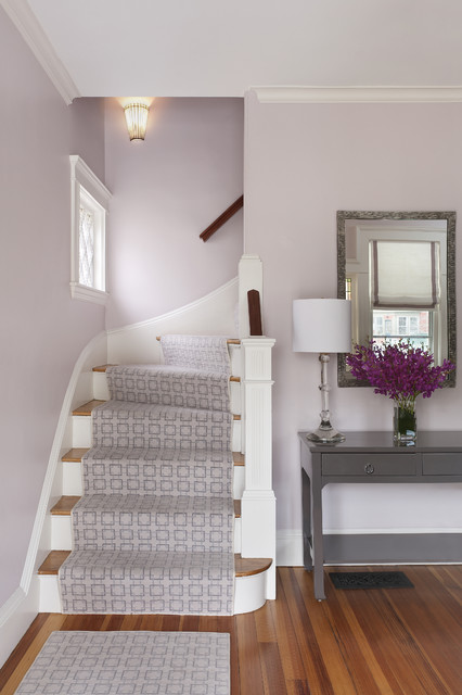 Landry and Arcari Entry Traditional with Baseboards Bench Carpet Runner