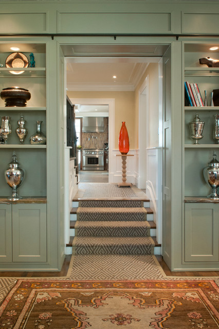Landry and Arcari Staircase Transitional with Built in Bookcase Built in Cabinets