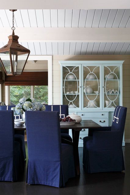 Lantern Pendant Light Dining Room Beach with Blue Hydrangeas Dark Wood