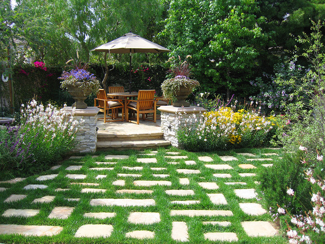 Large Planter Pots Landscape Traditional with Backyard Flowers Grass Pavers
