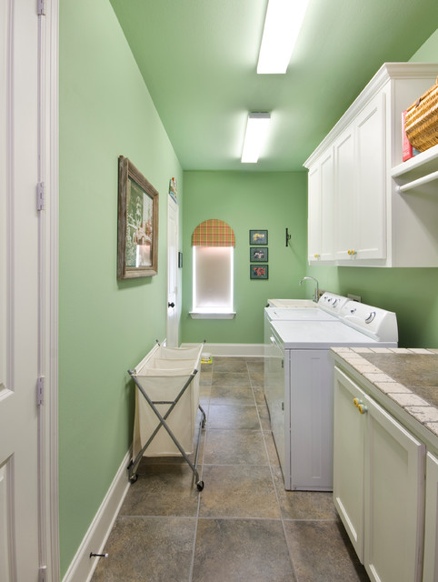 Laundry Basket on Wheels Laundry Room Traditional with Dryer Green Ceiling Green