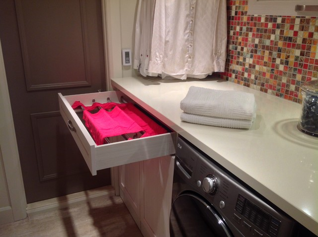 Laundry Drying Rack Laundry Room Contemporary with Colorful Backsplash Counter Over