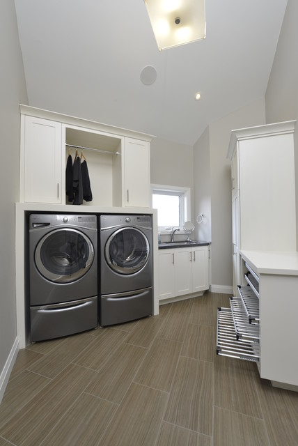 laundry drying rack Laundry Room Contemporary with built-in cabinets clean laundry