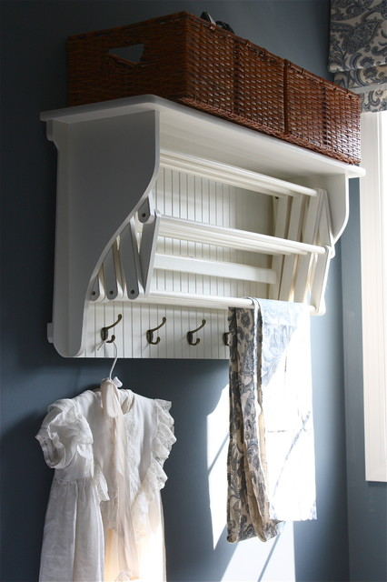 Laundry Drying Rack Laundry Room Traditional with Ballard Designs Baskets Blue