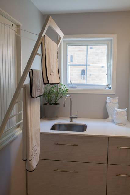 Laundry Drying Rack Laundry Room Transitional with Beadboard Ceramic Drying Rack
