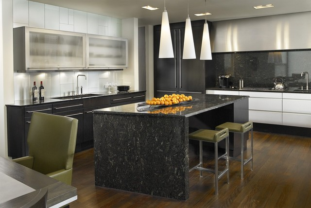 lbl lighting Kitchen Contemporary with bar stools black and