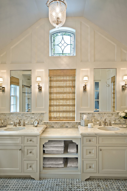 leaded glass windows Bathroom Traditional with arched ceiling backsplash basketweave